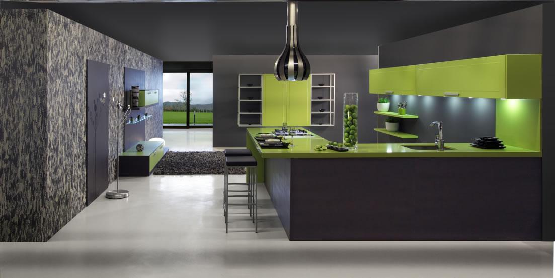 Дизайн кухни серо-зеленого цвета